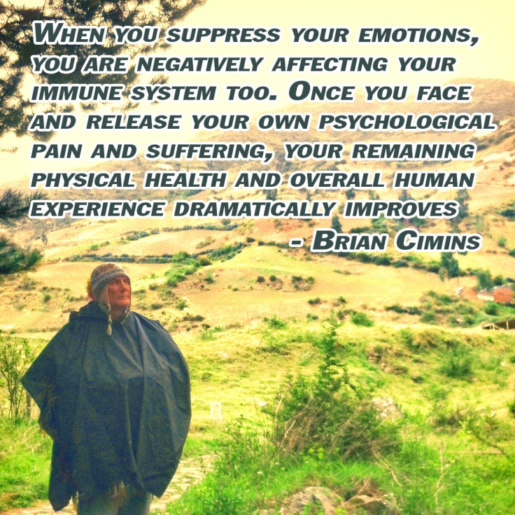 Inspirational Quote about Dangers of Suppressing Emotions by Brian Cimins