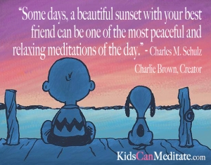 Charles Schulz Charlie Brown Snoopy Meditation Quote for KidsCanMeditate.com